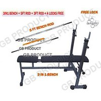 3 IN 1 ( BENCH FOR HOME GYM ) + 5FT BENCH ROD + 3FT ROD