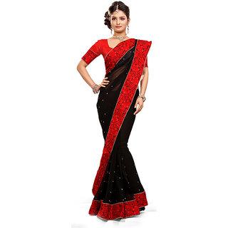 Designer Ladies Mysore Silk Saree Red And Black