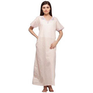 Trendy Comfortable V neck Peace Polka Dots Cotton Half Sleeve Nighty