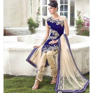 Exclusive Blue Emboridered Designer Straight Suit