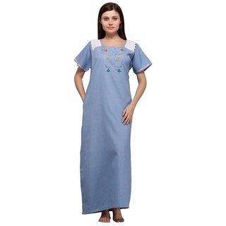 Trendy Comfortable Round neck Dark Blue Checkered Cotton Half Sleeve Nighty