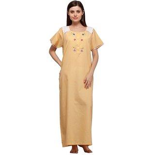 Trendy Comfortable Round neck Lemon Yellow Checkered Cotton Half Sleeve Nighty