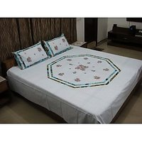 Sky Blue Octagon Embroidered Bedsheet With 2 Pillow Covers