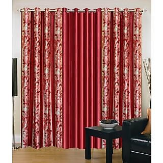 K Decor Red  Floral  Printed Door Curtain  Set of  3