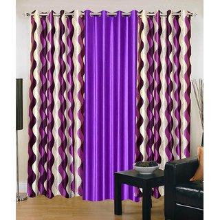 K Decor  Multi -color Printed Curtain Set of 3