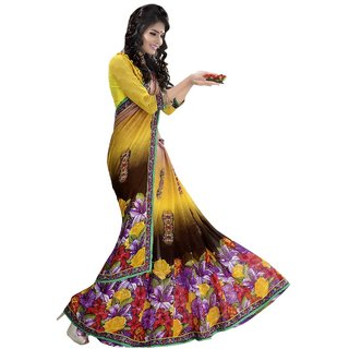 Fancy Designer Yellow and Coffee saree