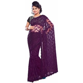 Urbane Varsha Raghav Net Resham & Machine Work Purple Bollywood Style Saree