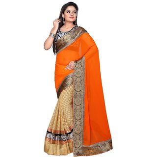 Phenomenal Georgette Thread & Border Work Cream & Orange Half & Half Saree