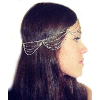 Tiara Tassles head Chain Accessory Silver Princess Women