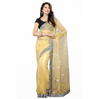 Abhinetri Sarees Beige Color Net Saree