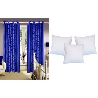 K Decor Set of  2 Curtains + 3 Cushion Filler