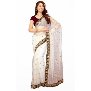 Abhinetri Saree White Color Fancy Net Saree