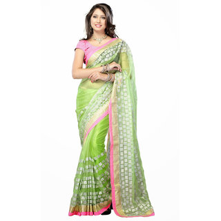 Abhinetri Saree Green Color Net Fancy Saree
