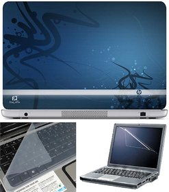 Finearts Laptop Skin Hp On Blue With Screen Guard And K
