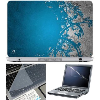 Finearts Laptop Skin - Blue Grey Abstract With Screen Guard And Key Protector - Size 15.6 Inch