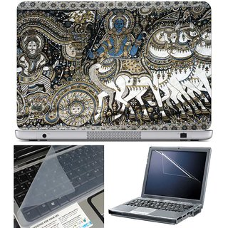 Finearts Laptop Skin - Arjun Krishna Art With Screen Guard And Key Protector - Size 15.6 Inch