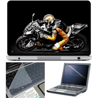 Finearts Laptop Skin - Biker With Screen Guard And Key Protector - Size 15.6 Inch
