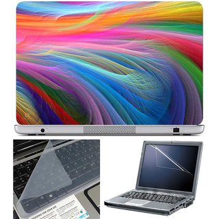 Finearts Laptop Skin - Feather Art With Screen Guard And Key Protector - Size 15.6 Inch