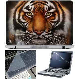 Finearts Laptop Skin Black Tiger With Screen Guard And Key Protector - Size 15.6 Inch