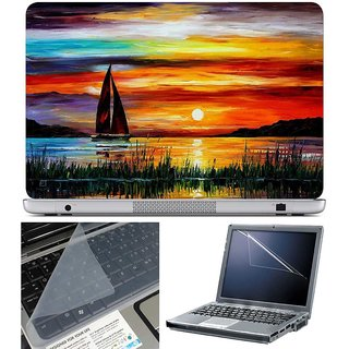 Finearts Laptop Skin Boat Drawing With Screen Guard And Key Protector - Size 15.6 Inch