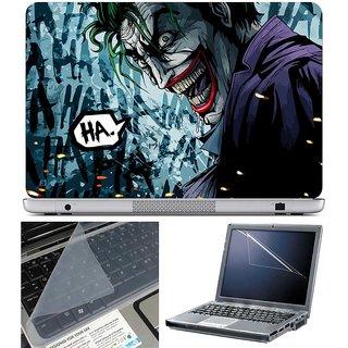 Finearts Laptop Skin - Comic Joker Ha Ha With Screen Guard And Key Protector - Size 15.6 Inch