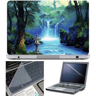 Finearts Laptop Skin Waterfall With Screen Guard And Key Protector - Size 15.6 Inch