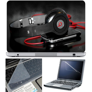 Finearts Laptop Skin 15.6 Inch With Key Guard  Screen Protector - Headphone With Mobile