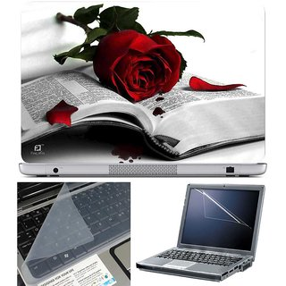 Finearts Laptop Skin Rose Book With Screen Guard And Key Protector - Size 15.6 Inch