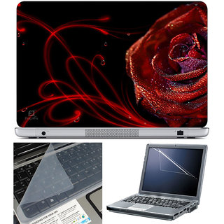 Finearts Laptop Skin 15.6 Inch With Key Guard & Screen Protector - Red Rose Waves