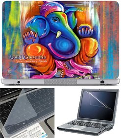 Finearts Laptop Skin Lord Ganesha With Screen Guard And Key Protector - Size 15.6 Inch