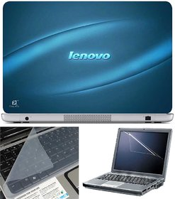 Finearts Laptop Skin Lenovo Blue  With Screen Guard And Key Protector - Size 15.6 Inch