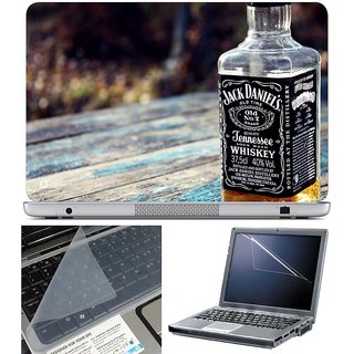 Finearts Laptop Skin Jack Daniels With Screen Guard And Key Protector - Size 15.6 Inch