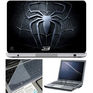 Finearts Laptop Skin Black Spider Chest With Screen Guard And Key Protector - Size 15.6 Inch
