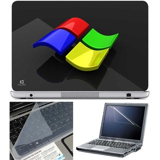 Finearts Laptop Skin - Windows Glass Effect With Screen Guard And Key Protector - Size 15.6 Inch