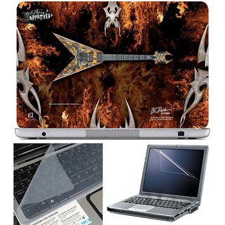 Finearts Laptop Skin - V Guitar Fire With Screen Guard And Key Protector - Size 15.6 Inch
