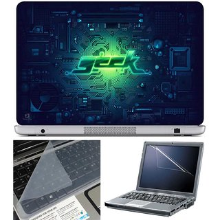 Finearts Laptop Skin - Geek With Screen Guard And Key Protector - Size 15.6 Inch