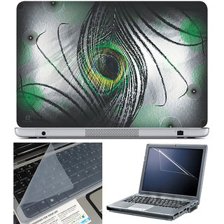 Finearts Laptop Skin 15.6 Inch With Key Guard & Screen Protector - Black Feather New