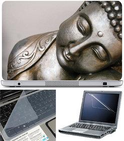 Finearts Laptop Skin 15.6 Inch With Key Guard  Screen Protector - Buddha Metal