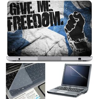 Finearts Laptop Skin Give Me Freedom With Screen Guard And Key Protector - Size 15.6 Inch