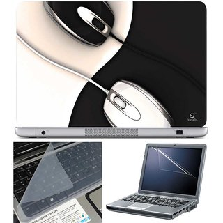 Finearts Laptop Skin - Two Mouse With Screen Guard And Key Protector - Size 15.6 Inch