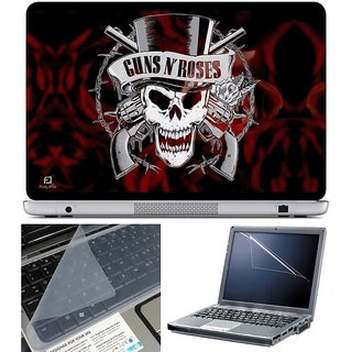 Finearts Laptop Skin - Guns N Roses With Screen Guard And Key Protector - Size 15.6 Inch