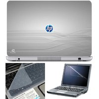 Finearts Laptop Skin Hp On Grey With Screen Guard And K