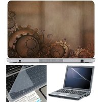 Finearts Laptop Skin Gear On Brown With Screen Guard An