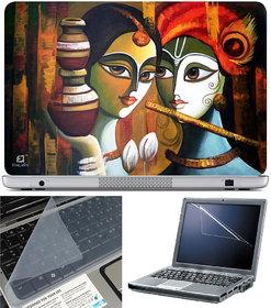 3 in1 Combo Finearts Laptop Skin 15.6 Inch + Laptop Keypad Guard + Laptop Screen Protector - Radha Krishna Painting