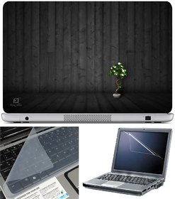 Finearts Laptop Skin Tree Wooden With Screen Guard And Key Protector - Size 15.6 Inch