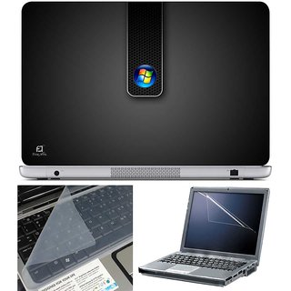 Finearts Laptop Skin Windows Logo Black With Screen Guard And Key Protector - Size 15.6 Inch