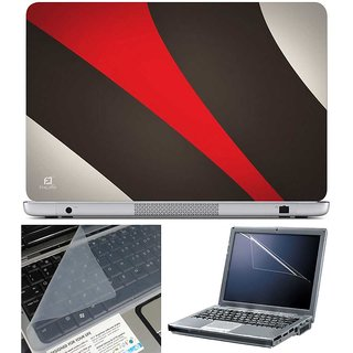 Finearts Laptop Skin - Brown Red Pattern With Screen Guard And Key Protector - Size 15.6 Inch