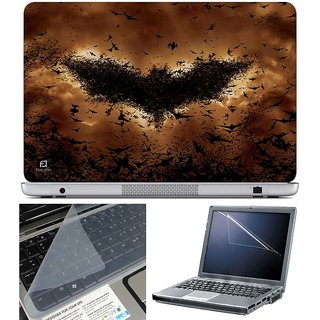 Finearts Laptop Skin - Batman Bats Brown With Screen Guard And Key Protector - Size 15.6 Inch