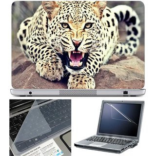 Finearts Laptop Skin - Angry Panther With Screen Guard And Key Protector - Size 15.6 Inch