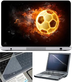 Finearts Laptop Skin Football On Fire With Screen Guard